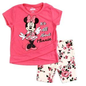 Disney Minnie Mouse Baby 2PC Bike Short Set. Coral